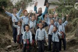 Children shouting Thank You